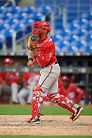 Washington Nationals catcher Wilmer Perez (18) throws to second base during a Florida Instructional League game against the Miami Marlins on September 26, 2018 at the Marlins Park in Miami, Florida.  (Mike Janes/Four Seam Images)