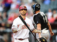 May 31, 2011; Phoenix, AZ, USA; Arizona Diamondbacks third baseman Ryan Roberts reacts after striking out in the first inning against the Florida Marlins at Chase Field. Mandatory Credit: Mark J. Rebilas-