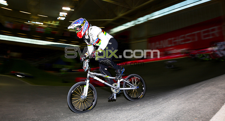 Picture by Alex Whitehead/SWpix.com - Cycling - 2014 UCI BMX Supercross World Cup - National BMX Centre, Manchester, England - 19/04/14 - Liam Phillips