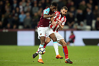 Erik Pieters of Stoke City and Edimilson Fernandes of West Ham United during West Ham United vs Stoke City, Premier League Football at The London Stadium on 16th April 2018