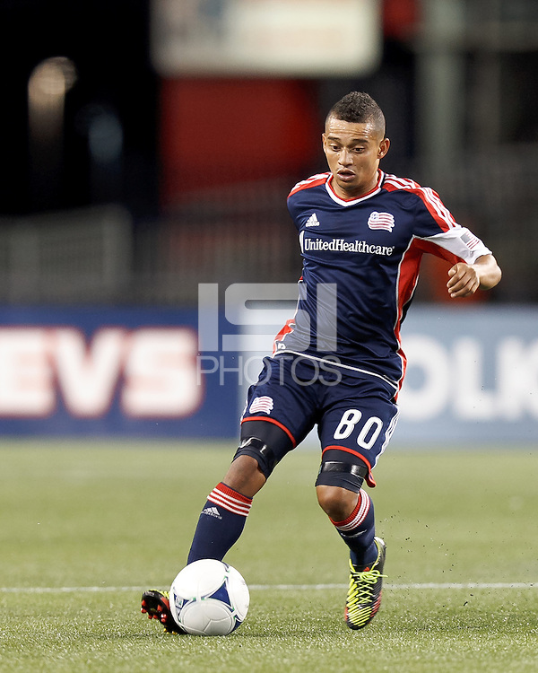 New England Revolution midfielder Fernando Cardenas (80) controls the ball. In a Major League Soccer (MLS) match, the New England Revolution tied Philadelphia Union, 0-0, at Gillette Stadium on September 1, 2012.