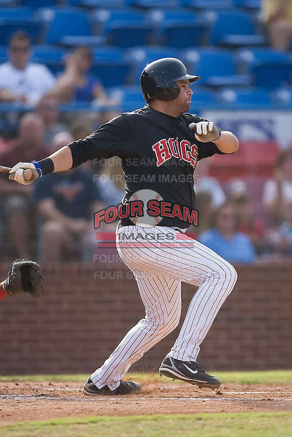 Freddie Thon (47) of the Winston-Salem Warthogs follows through on his swing at Ernie Shore Field in Winston-Salem, NC, Saturday August 9, 2008. (Photo by Brian Westerholt / Four Seam Images)