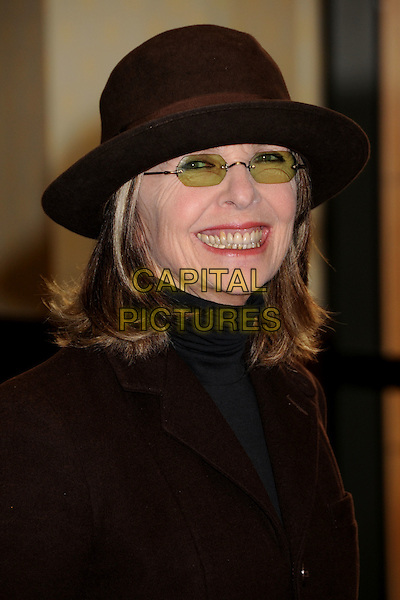 "DIANE KEATON.Diane Keaton's ""California Romantica"" Book Signing at Barnes & Noble at The Grove, Los Angeles, California, USA,.8 May 2008.portrait headshot brown hat glasses smiling.CAP/ADM/BP.©Byron Purvis/Admedia/Capital PIctures"