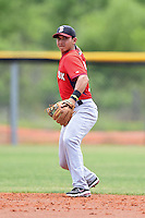 Boston Red Sox minor league shortstop Javier Guerra (12) during an extended spring training game against the Tampa Bay Rays on April 16, 2014 at Charlotte Sports Park in Port Charlotte, Florida.  (Mike Janes/Four Seam Images)