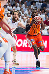 Real Madrid's player Sergio Rodriguez and Valencia Basket's Sato during the first match of the Semi Finals of Liga Endesa Playoff at Barclaycard Center in Madrid. June 02. 2016. (ALTERPHOTOS/Borja B.Hojas)