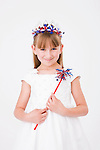 Portrait of girl (8-9) wearing Fourth of July costume
