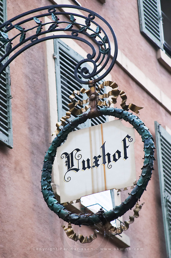 wrought iron sign luxhof colmar alsace france