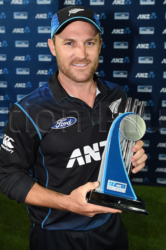 03.02.2015. Napier, New Zealand.  The Black Caps captain Brendon McCullum poses for a photo after a 2-0 series victory over Pakistan. ANZ One Day International Cricket Series. Match 2 between New Zealand Black Caps and Pakistan at McLean Park in Napier, New Zealand.