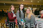 Lisa Stackpool, Rebecca Barrett and Megan Costello, Tarbert Comprehensive  at the Kerry ETB's Further Education and Training Fair in the The Brandon Hotel on Thursday