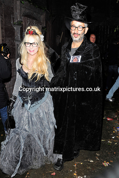 NON EXCLUSIVE PICTURE: MATRIXPICTURES.CO.UK<br /> PLEASE CREDIT ALL USES<br /> <br /> WORLD RIGHTS<br /> <br /> British comedian David Baddiel and his partner Morwenna Banks attending Jonathan Ross' annual Halloween party at his North London home.<br /> <br /> OCTOBER 31st 2013<br /> <br /> REF: ASI 137101