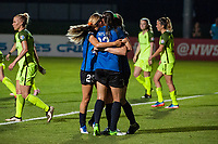 Kansas City, MO - Saturday June 17, 2017: Brittany Ratcliffe, Brittany Taylor, Maegan Kelly, celebrate, celebration during a regular season National Women's Soccer League (NWSL) match between FC Kansas City and the Seattle Reign FC at Children's Mercy Victory Field.