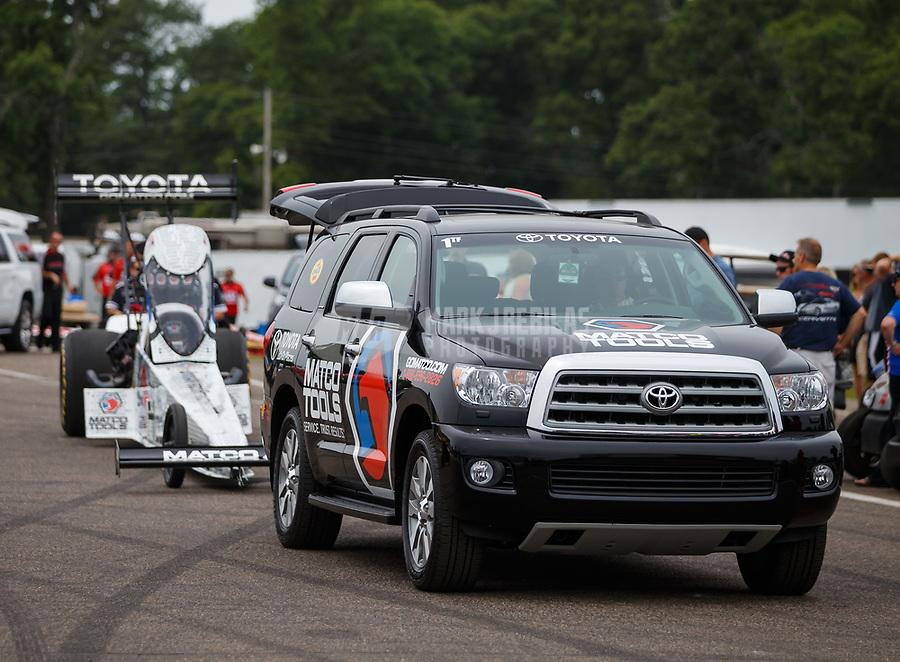 Aug 20, 2017; Brainerd, MN, USA; NHRA top fuel driver Antron Brown during the Lucas Oil Nationals at Brainerd International Raceway. Mandatory Credit: Mark J. Rebilas-USA TODAY Sports