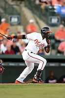 Baltimore Orioles outfielder Alejandro De Aza (12) during a Spring Training game against the Atlanta Braves on April 3, 2015 at Ed Smith Stadium in Sarasota, Florida.  Baltimore defeated Atlanta 3-2.  (Mike Janes/Four Seam Images)