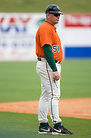 Greensboro Grasshoppers manager Darin Everson #51 in the third base coaches box at NewBridge Bank Park June 20, 2009 in Greensboro, North Carolina. (Photo by Brian Westerholt / Four Seam Images)