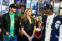 "NEW YORK - MAY 05:    Actor Ashton Kutcher and actress Cameron Diaz and Snoop Dogg visit MTV's ""TRL"" at the MTV's Studios in Time Square on May 5,2008 in New York City.  (Photo by Soul Brother/FilmMagic)"
