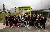The Junior Tall Blacks in front of their home stadium, Te Rauparaha Arena in Porirua. Junior Tall Blacks photoshoot at Te Rauparaha Arena, Porirua, Wellington, New Zealand on Friday 20 June 2008. Photo: Dave Lintott / lintottphoto.co.nz