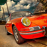 Vintage americana with red Porsche