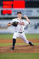 Danville Braves relief pitcher Taylor Hyssong (18) in action against the Pulaski Yankees at American Legion Post 325 Field on August 1, 2016 in Danville, Virginia.  The Yankees defeated the Braves 4-1.  (Brian Westerholt/Four Seam Images)