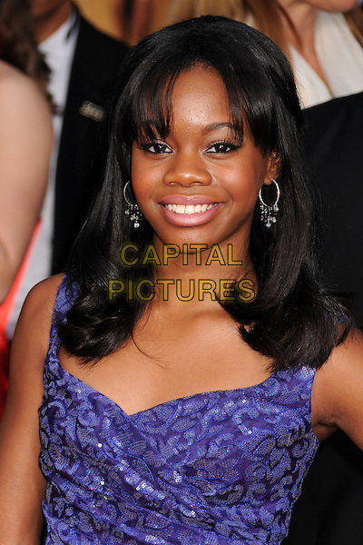 Gabrielle Douglas, Gabby Douglas.Arrivals at the 19th Annual Screen Actors Guild Awards at the Shrine Auditorium in Los Angeles, California, USA..27th January 2013.SAG SAGs headshot portrait purple sparkly .CAP/ADM/BP.©Byron Purvis/AdMedia/Capital Pictures