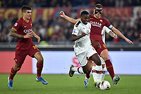 Gianluca Mancini of AS Roma , Rafael Leao of AC Milan , Edin Dzeko of AS Roma <br /> Roma 27-10-2019 Stadio Olimpico <br /> Football Serie A 2019/2020 <br /> AS Roma - AC Milan<br /> Foto Andrea Staccioli / Insidefoto
