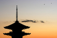 The pagoda of Yasaka-Jinja, or Yasaka shrine, stands at sunset in Kyoto, Japan, on November 7, 2006. Kyoto is the former imperial capital of Japan, and today houses more than 1.5 million. Photo by Lucas Schifres/Pictobank