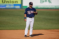 Elizabethton Twins third baseman Alex Robles (24) during a game against the Bristol Pirates on July 28, 2018 at Joe O'Brien Field in Elizabethton, Tennessee.  Elizabethton defeated Bristol 5-0.  (Mike Janes/Four Seam Images)