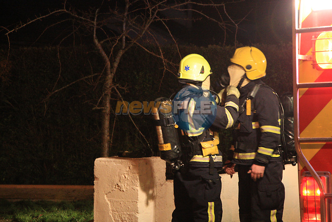 Fire Units from Drogheda and Navan tackled a house fire in Ryans COurt Duleek, the fire which was spreading to the adjoining home was contained, No injuries was reported at the scene..Picture Fran Caffrey/www.newsfile.ie.