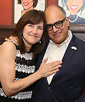 David Yazbek and his wife Elizabeth Doberneck during the Sardi's Portrait unveiling for The Band's Visit composer-lyricist David Yazbek at Sardi's on June 7, 2018 in New York City.