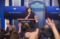 White House Press Secretary Sarah Huckabee Sanders holds the daily news briefing at The White House in Washington, DC, July 26, 2017. <br /> Credit: Chris Kleponis / CNP /MediaPunch