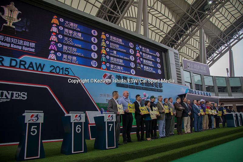 DEC 10,2015: LONGINES Hong Kong International Races Barrier Draw (Hong Kong Sprint)at Sha Tin in New Territories,Hong Kong. Kazushi Ishida/ESW/CSM