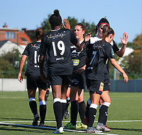 20190921 – LEUVEN, BELGIUM : E. Aalst's players are pictured celebrating Henriette Awete's goal during a women soccer game between  Oud Heverlee Leuven Ladies B and Eendracht Aalst Ladies on the fourth matchday of the Belgian Division 1 season 2019-2020, the Belgian women's football  national division 1, Saturday 21th September 2019 at the Bruinveld Youth Complex, Domeinstraat in Leuven , Belgium. PHOTO SPORTPIX.BE | SEVIL OKTEM