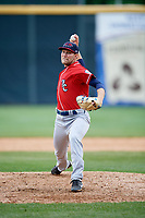 New Hampshire Fisher Cats relief pitcher Justin Shafer (34) delivers a pitch during the first game of a doubleheader against the Harrisburg Senators on May 13, 2018 at FNB Field in Harrisburg, Pennsylvania.  New Hampshire defeated Harrisburg 6-1.  (Mike Janes/Four Seam Images)