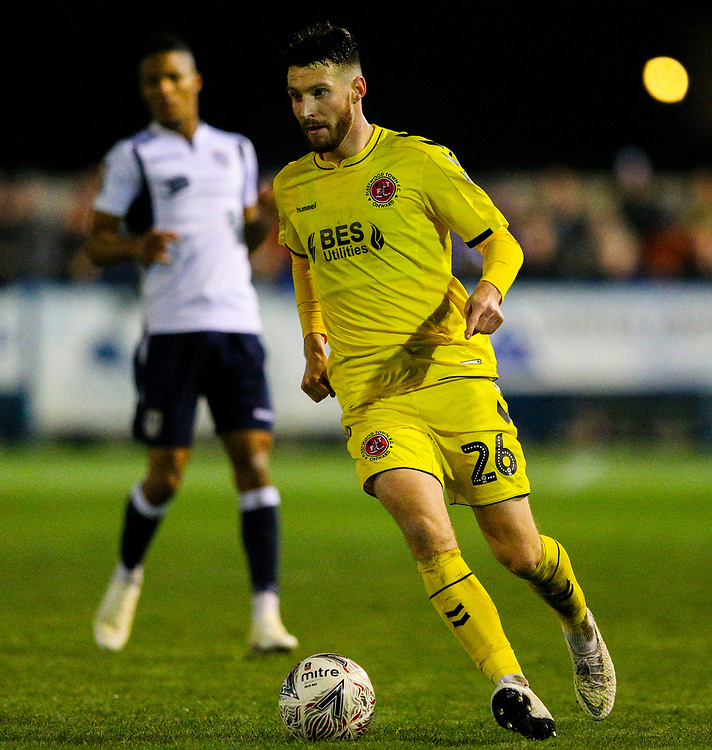 Fleetwood Town's James Husband<br /> <br /> Photographer Alex Dodd/CameraSport<br /> <br /> The Emirates FA Cup Second Round - Guiseley v Fleetwood Town - Monday 3rd December 2018 - Nethermoor Park - Guiseley<br />  <br /> World Copyright &copy; 2018 CameraSport. All rights reserved. 43 Linden Ave. Countesthorpe. Leicester. England. LE8 5PG - Tel: +44 (0) 116 277 4147 - admin@camerasport.com - www.camerasport.com