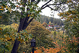 USA, Oregon, Ashland, view of houses on a hillside in Ashland from Lithia Park in the Fall