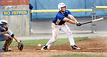 TORRINGTON CT. 27 July 2017-072717SV07-#3 Ethan Hibbard of the Wolcott Storm takes a cut at the ball in the 2nd inning against the Colton, CA. Nighthawks during the Mickey Mantle World Series in Torrington Thursday.<br /> Steven Valenti Republican-American