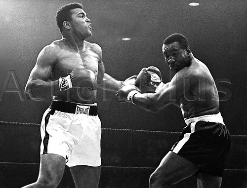 "25.05.1965. Maine, USA. Cassius Clay knocks out Liston with a hard left. The fight became the scene of one of the shortest heavyweight championship box fights between defending champion Cassius Clay (l) and challenger Charles ""Sonny"" Liston (r) on 25 May 1965 in Lewiston, Maine. Cassius Clay knocked Sonny Linston out within the first minute of the first round. Muhammad Ali died on June 3rd 2016 of a respiratory complication in a Phoenix hospital."