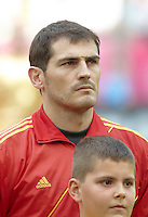 EURO 2012 - POLAND - Gdansk - 10 JUNE 2012 - Spain vs Italy first group C match. Spanish goalkeeper Iker Casillas during the National spanish anthem.