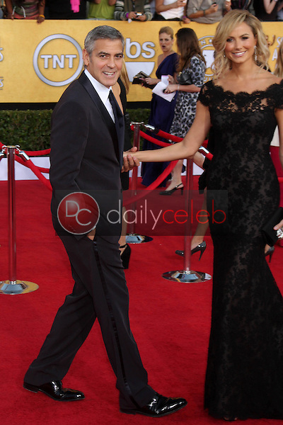 George Clooney, Stacy Keibler<br /> at the 18th Annual Screen Actors Guild Awards Arrivals, Shrine Auditorium, Los Angeles, CA 01-29-12<br /> David Edwards/DailyCeleb.com 818-249-4998