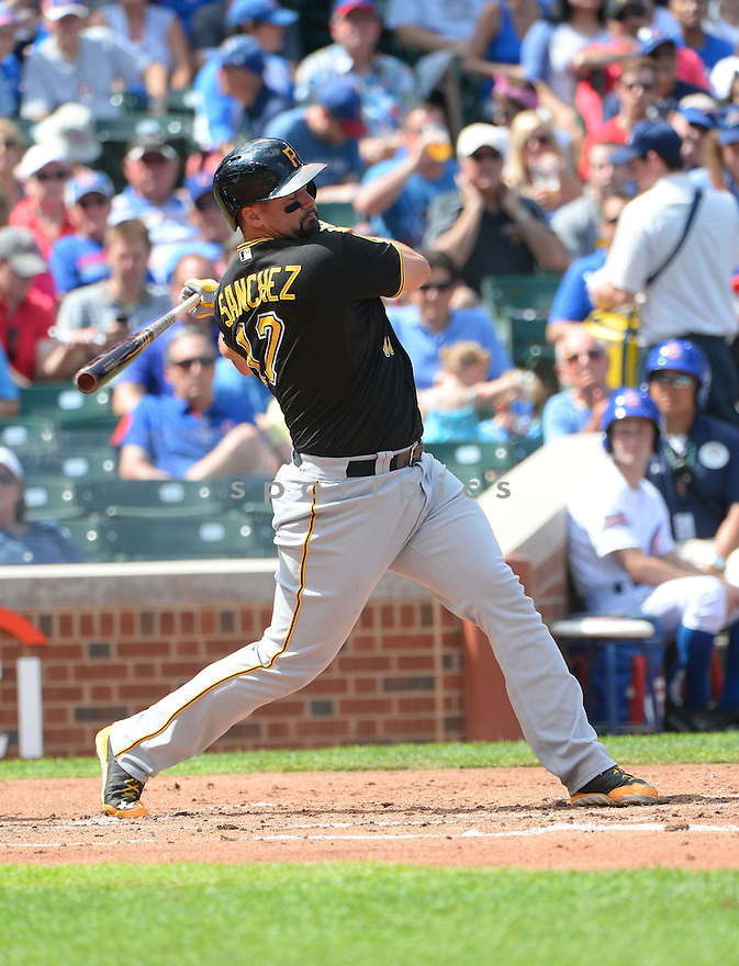 Pittsburgh Pirates Gaby Sanchez (17) during a game against the Chicago Cubs on September 5, 2014, at Wrigley Field in Chicago, IL. The Pirates beat the Cubs 5-3.