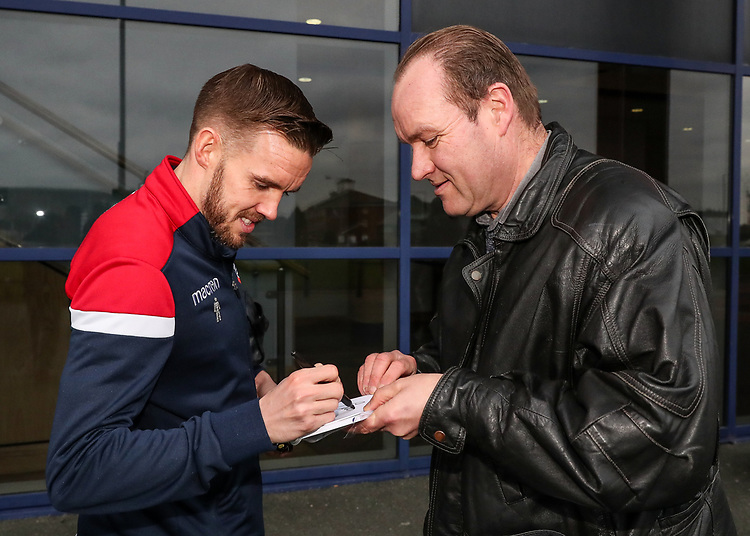 Bolton Wanderers' Craig Noone signs an autograph for a fan<br /> <br /> Photographer Andrew Kearns/CameraSport<br /> <br /> Emirates FA Cup Third Round - Bolton Wanderers v Walsall - Saturday 5th January 2019 - University of Bolton Stadium - Bolton<br />  <br /> World Copyright © 2019 CameraSport. All rights reserved. 43 Linden Ave. Countesthorpe. Leicester. England. LE8 5PG - Tel: +44 (0) 116 277 4147 - admin@camerasport.com - www.camerasport.com