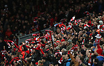 Liverpool fans wave their scarves during the Champions League Quarter Final 1st Leg, match at Anfield Stadium, Liverpool. Picture date: 4th April 2018. Picture credit should read: Simon Bellis/Sportimage