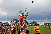 Nicholas Denz & Alipeni Olosoni go high for lineout ball. Counties Manukau Premier Club Rugby game between Patumahoe & Karaka played at Patumahoe on Saturday June 13th 2009. Patumahoe lead 8 - 0 at halftime and went on to win 20 - 0.
