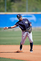 New York Yankees Daniel Barrios (28) during practice before a Minor League Spring Training game against the Toronto Blue Jays on March 18, 2018 at Englebert Complex in Dunedin, Florida.  (Mike Janes/Four Seam Images)