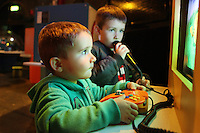 NO REPRO FEE. 20/9/2010. Game On Exhibition.  Noah 2 and Will 5 Geoghan are pictured at the opening of the Game On Exhibition at Dublin's Ambassador Theatre. Game On is an action packed gaming exhibition with fun for all the family. Enjoy a totally interactive experience with rare memorabilia and play your way through over 120 playable games from the arcade classics to the latest releases. Now running at the Ambassador Theatre for a limited run. Tickets from 10 euro including booking fee on sale now See Ticketmaster.ie and Gameon-Dublin.ie for family and group discounts plus more details. Picture James Horan/Collins Photos
