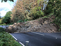 2019 09 30 A landslide closed the A490 near Welshpool in mid Wales, UK.