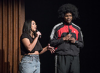 Apollo Night hosts Nina Reynoso '16 and Chance Ward '18. Occidental College students perform and compete during Apollo Night, one of Oxy's biggest talent showcases, on Friday, Feb. 26, 2016 in Thorne Hall. Sponsored by ASOC, hosted by the Black Student Alliance as part of Black History Month.<br /> (Photo by Marc Campos, Occidental College Photographer)