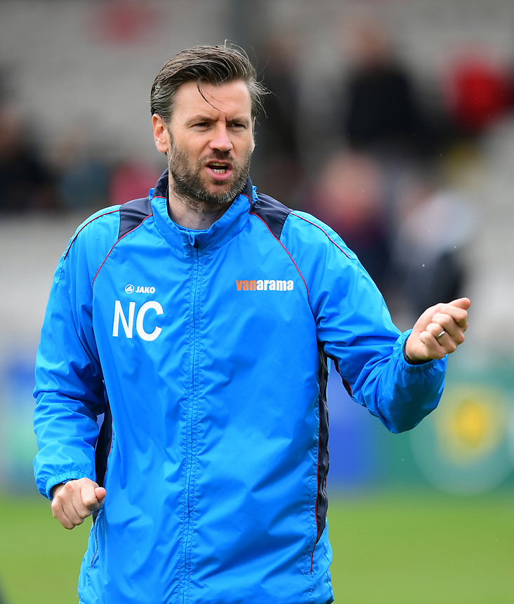Lincoln City's assistant manager Nicky Cowley during the pre-match warm-up <br /> <br /> Photographer Chris Vaughan/CameraSport<br /> <br /> Vanarama National League - Lincoln City v Torquay United - Friday 14th April 2016  - Sincil Bank - Lincoln<br /> <br /> World Copyright &copy; 2017 CameraSport. All rights reserved. 43 Linden Ave. Countesthorpe. Leicester. England. LE8 5PG - Tel: +44 (0) 116 277 4147 - admin@camerasport.com - www.camerasport.com
