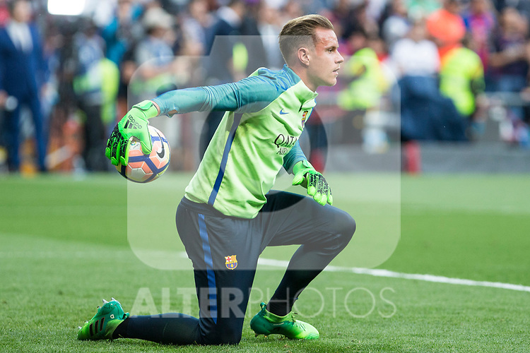 Marc-Andre Ter Stegen of FC Barcelona during the match of La Liga between Real Madrid and Futbol Club Barcelona at Santiago Bernabeu Stadium  in Madrid, Spain. April 23, 2017. (ALTERPHOTOS)