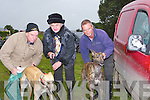 GREYHOUNDS: getting their greyhounds ready for the first day coursing in Kilflynn on Friday were l-r: Paud and Noreen Twomey (Kilflynn) and Bat Heaphy (Lixnaw).