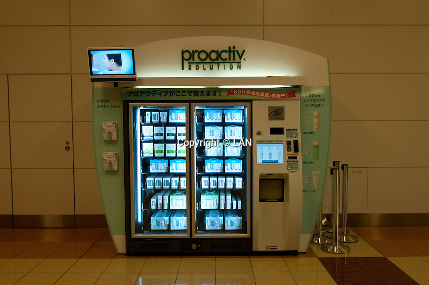 "Landscape view of a ""Proactiv Solution"" vending machine at the Haneda Airport following the 311 Tohoku Tsunami in Tokyo, Japan  © LAN"